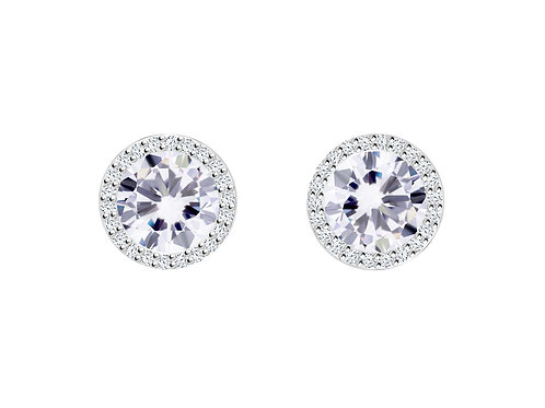 Earrings LYNX Colorless cubic zirconia stones silver Ag925/Rh 5269 00