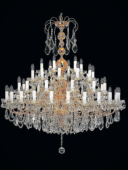 "Oversized chandelier ""Berkana L900-54-02"" gold finishes."
