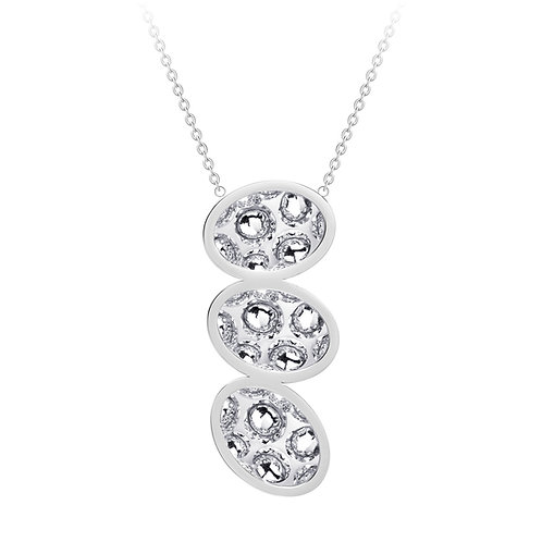 Necklace stainless steel Bohemian crystal triple stones