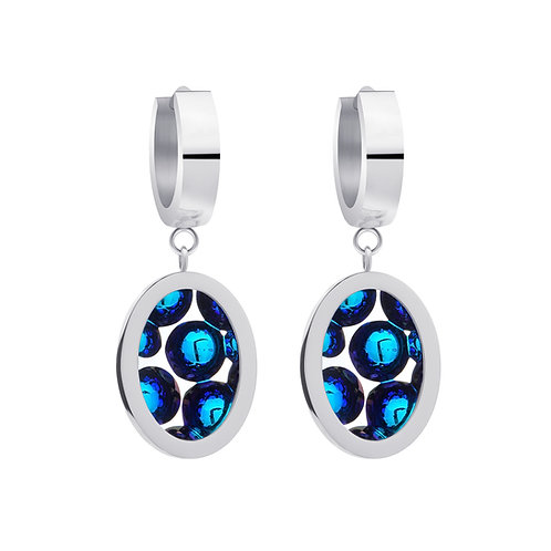 Earrings from stainless steel Idared Blue unique stone