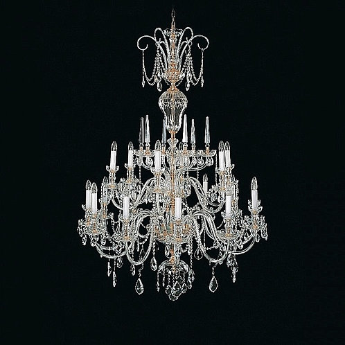 "Large crystal chandelier ""Berkana L670/18/01"" gold finished"