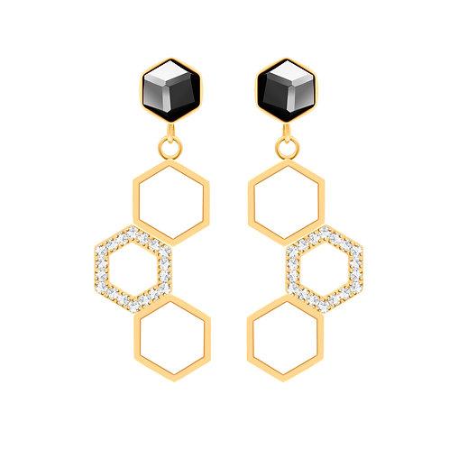 Gold women earring Honeygon with black hematite stones hypoallergenic