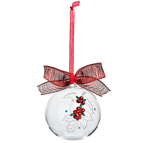 Christmas tree decoration. Crystal ball with the red bow. 1350 70