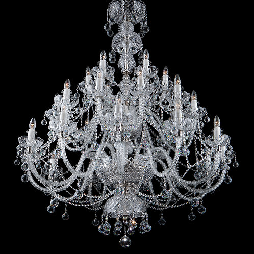 Large crystal chandelier in silver finishes crystal balls for living room