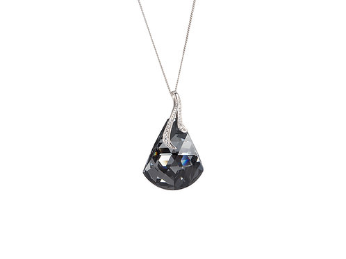 Pendant for women Crystal bell black crystal sterling silver with cubic zirconia