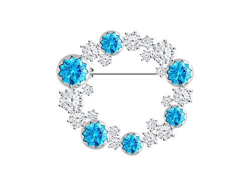 Brooch Vela Light Blue sky cubic zirconia diamond Sterling Silver