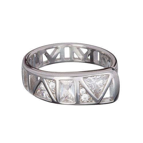 Ring Silver Ag 925/Rh - Gently inspiration crystal