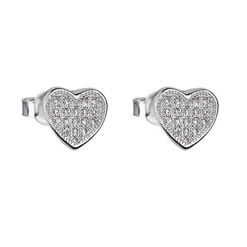 Earring A la moda Silver Ag / Rh cubic zirconia stones