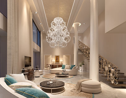 Beautiful combo between modern and traditional crystal lighting here we see an oversised chandelier in a living room of a penthouse with especially hight ceilings.