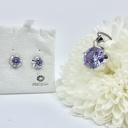 Sterling silver jewelry set  for women in flowers shape with violet cubic zircon