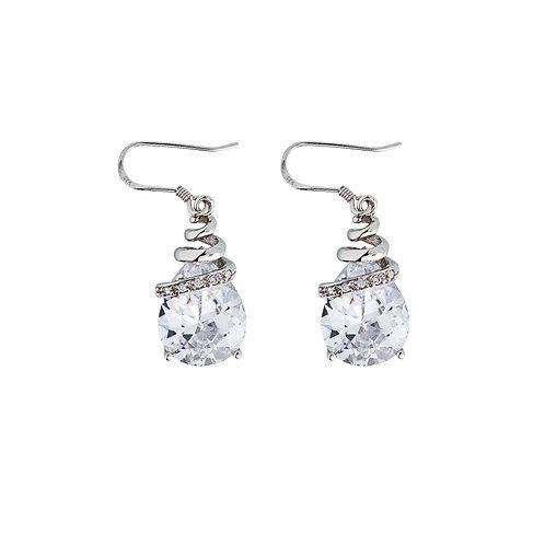 Earrings Elegant Silver Ag 925/Rh Clear Crystal