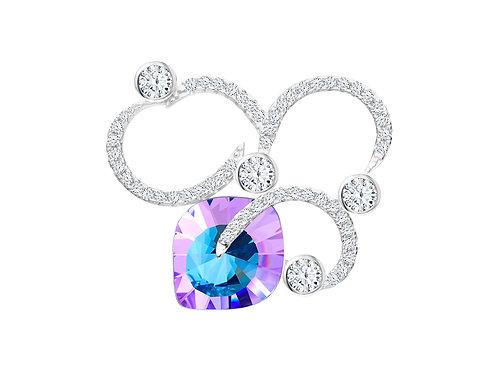 Brooch Pavo cubic zirconia stones diamonds  Silver AG 925 / Rh 6120 43