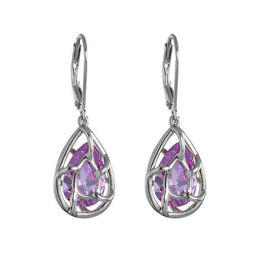 Earrings hypoallergenic sterling silver with violet cubic zirconia Enigmatic