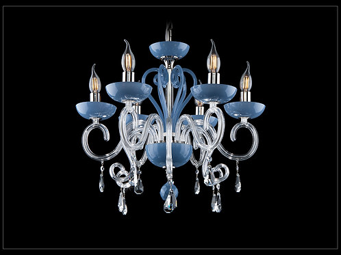 Chandelier in Contemporary style blue ceramic crystal L424/6/09 Silver BRASS