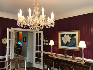 Bohemian chandeliers in dining/living room
