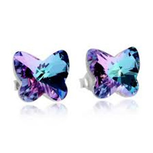 Earring Butterfly Harmony Silver Ag925/ Rh Vitrail Light 6058 43
