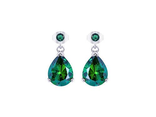 Earrings Green Tree of Life Silver Ag / Rh cubic zirconia