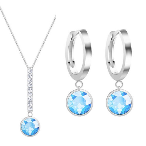 Women's silver jewelry set Lucea with color's variety of cubic zircons. Gift.