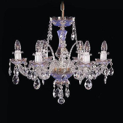 Blue gold crystal chandelier handmade painting gold 6 light bohemia