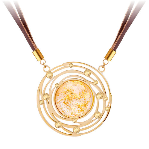 Leather Necklace Stone 24K Gold  and White  stainless steel Mays