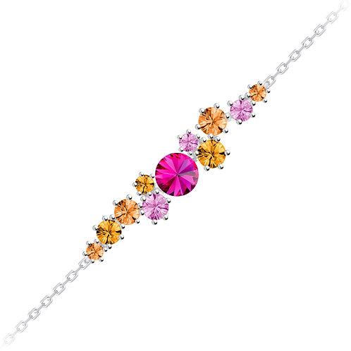 Bracelet with Fucsia stones Sterling silver Aronie