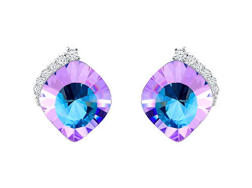 Earrings Pavo cubic zirconia stones pink - blue  Silver AG 925 / Rh 6119 43