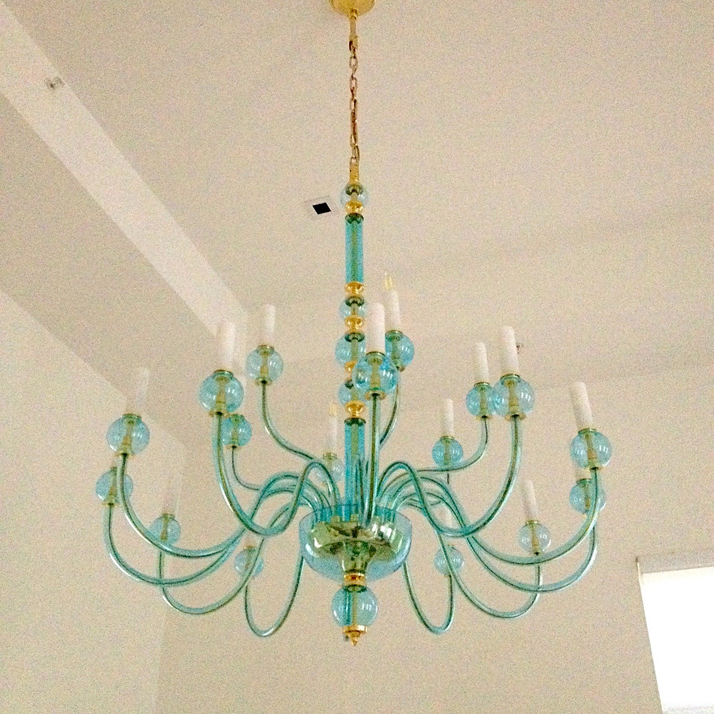 Crystal contemporary chandelier from Bohemia. Exclusive custom project for the residential home of Light blue and Gold color with soft and simple line