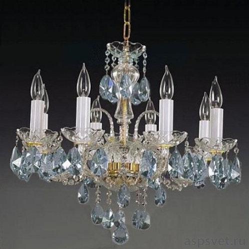 L104-8-02-3 N aqua crystal chandelier in silver with light blue pendants