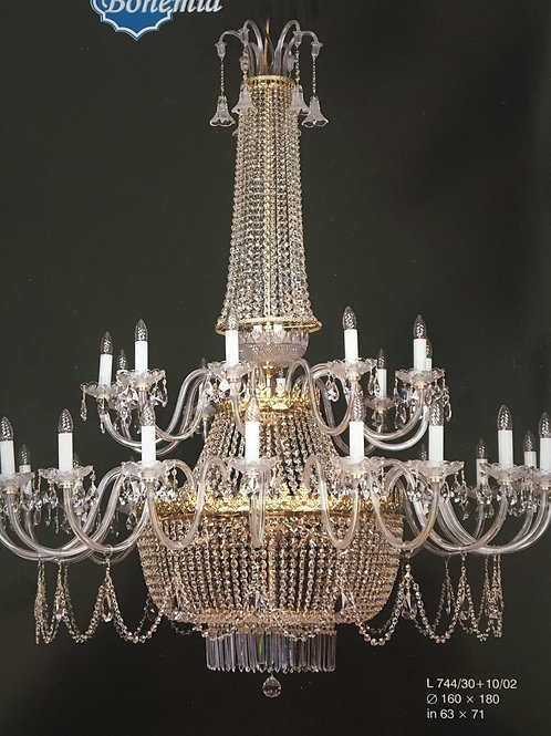 "Large crystal chandelier ""Berkana L744/30+10/02"" gold finishes"