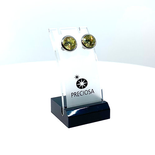 Green crystal Earrings in silver with cubic zirconia