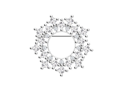 Brooch Orion Colorless cubic zirconia diamond Silver Ag925/Rh 5259 00