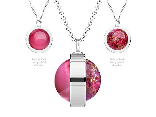 Pendant  for women Singularis  Light  red pink double sides Sterling Silver