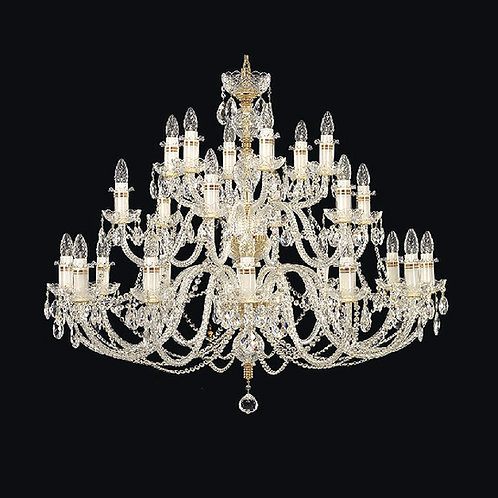 Crystal large gold chandelier for living room, upstairs hallway lighting