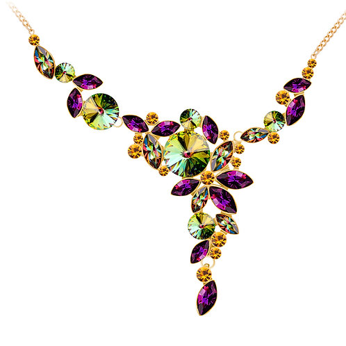 Necklace gold jewelry alloy with cubic zirconia stones