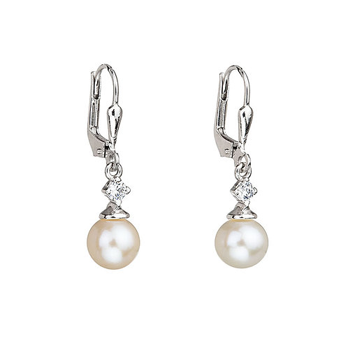 Earrings Smart Silver Ag 925/Rh  white pearls with cubic zirconia stones
