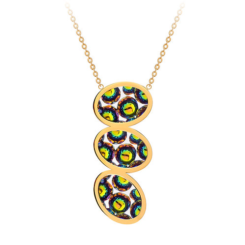 Necklace gold  stainless steel Bohemian crystal triple stone Idared