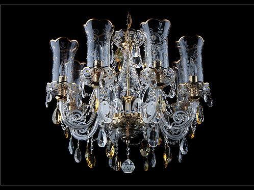 Chandelier crystal  handmade art glass work gold brass L580/8+2/022-2 TS honey