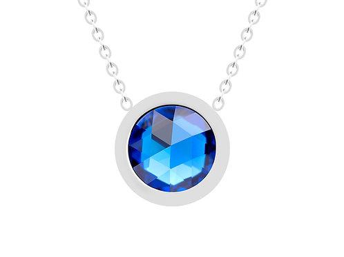 Necklace Gemini Light Blue sky crystal diamond surgical steel  7339 54