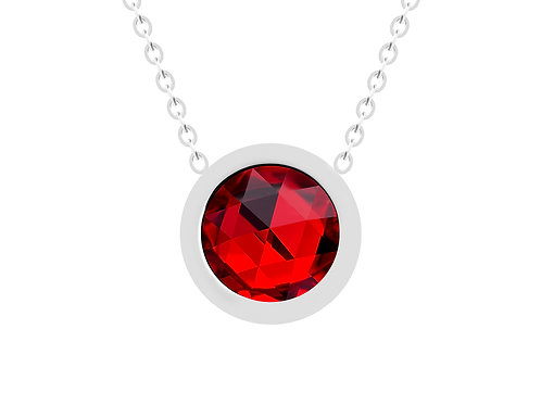 Necklace Gemini red crystal diamond surgical steel  7339 63