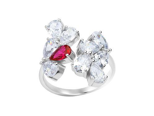 Ring Libra cubic zirconia diamonds stones Silver AG 925 / Rh 5243 55