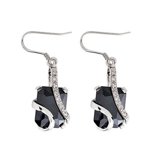 Earrings Silver Ag 925/Rh Graceful Black jet