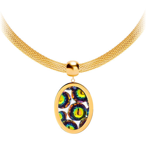 Necklace gold  stainless steel Bohemian crystal Idared Vitrail Medium