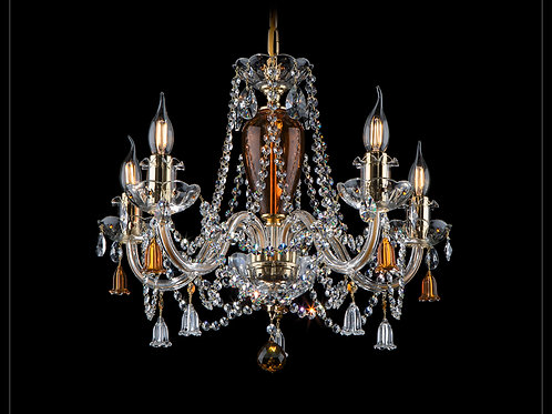 Chandelier with clear and amber color of crystal gold brass L109/5/202-2 bells