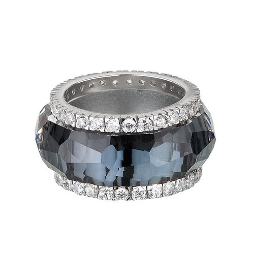 Ring De Luxe silver Ag 925 / Rh with cubic zirconia stones
