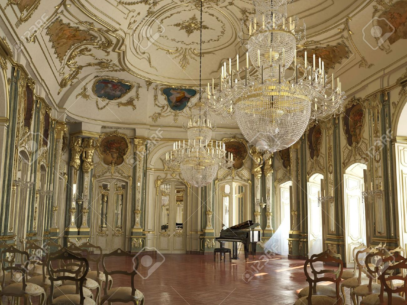 Preciosa lighting berkana ball room oversized chandelier 19893968-Majestic-large-decorated-piano-con
