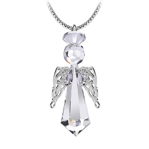 Angel Messenger 2. Crystal Angel miniature figurine with silver wings
