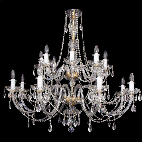 "Large crystal chandeliers ""L104-16-02 S"" gold finishes"