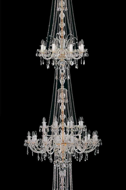 """Long crystal chandelier """"L117/66/04"""" gold finishes for staircase and dining room"""