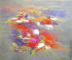 Inondato di luce, 2015, Pastelli, pasta acrilica e timbri su tela, cm 100x120