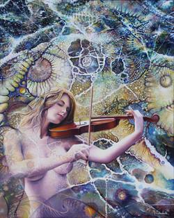 Il violino cm100x80 olio sutela